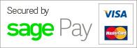 Secured by SagePay: Visa, PayPal, MasterCard, American Express